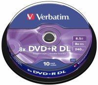 DVD+R Verbatim DL 8X 8.5GB 10PK SPINDLE MATT SILVER (43666)