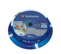 BD-R Verbatim SL LTH 6X 25GB 10PK SPINDLE WIDE PRINTABLE (43751)