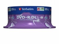 DVD+R Verbatim DL 8X 8.5GB 25PK SPINDLE MATT SILVER (43757)