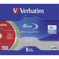 BD-R Verbatim SL LTH 6X 25GB 5PK SLIMCASE COLOUR (43774)