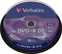 BLANK  DVD+R Verbatim  DL 8X 8.5GB  10PK SPINDLE MATT SILVER (43818)
