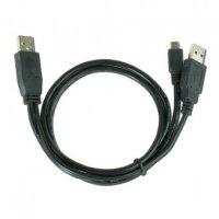 Cablu de date USB2.0, conectori dual USB A la mini USB 5PM, lungime cablu: 0.9m, bulk, Negru, GEMBIRD (CCP-USB22-AM5P-3)