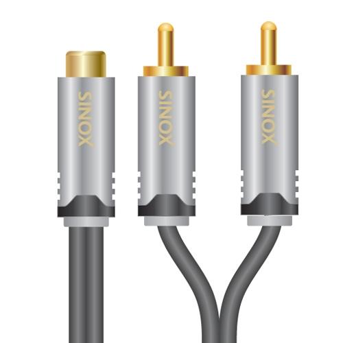 CABLU  AUDIO  HDpremium RCA (M) la 2x RCA (T),  0.2m, Black (SHD4600)