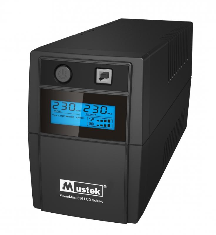 UPS  MUSTEK PowerMust  636 LCD (650VA) Line Interactive, Schuko (98-LIC-L0636)