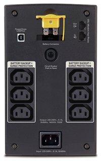BX1400UI | Line interactive | 1400 VA | 700 W | Sinusoida aproximata | Tower | Conectori intrare IEC-320 C14 | Conectori iesire 6 x IEC 320 C13 | 230 V | Protectie telefon/fax/modem RJ-11 | Panou de control Indicatori : Baterie, Supraincarcare