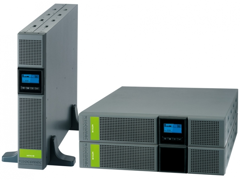 UPS SOCOMEC Netys PR RT 2200VA (NPR-2200-RT), line interactive de 2200VA si 1800W, backup 8min, protectii: suprasarcina, scurtcircuit, cu baterie din plumb, tensiune iesire: 230V +/-5%, 50/60Hz, semnal sinusoidal si rack mount, Negru