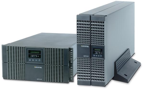 UPS SOCOMEC Netys RT 11000VA (NRT2-11000K), online de 11000VA si 9000W, online dubla conversie cu bypass automat, semnal sinusoidal, rack mount si necesita baterie externa (4 ore incarcare), cu display LCD, Gri