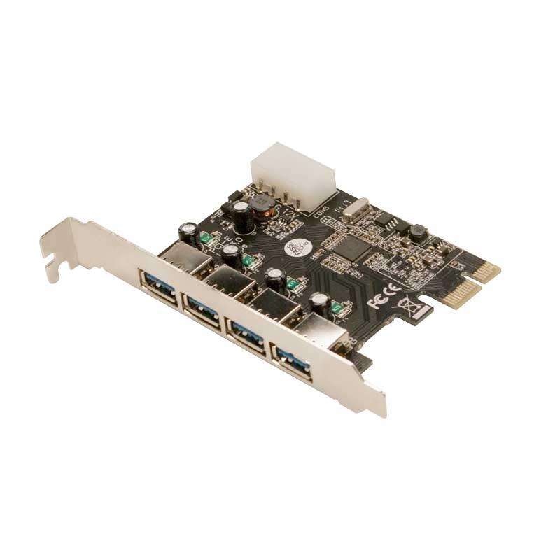 Card PCI-e Adaptor la 4x USB3.0 si 1x Molex alimentare, chipset VIA VL805, LOGILINK (PC0057A)
