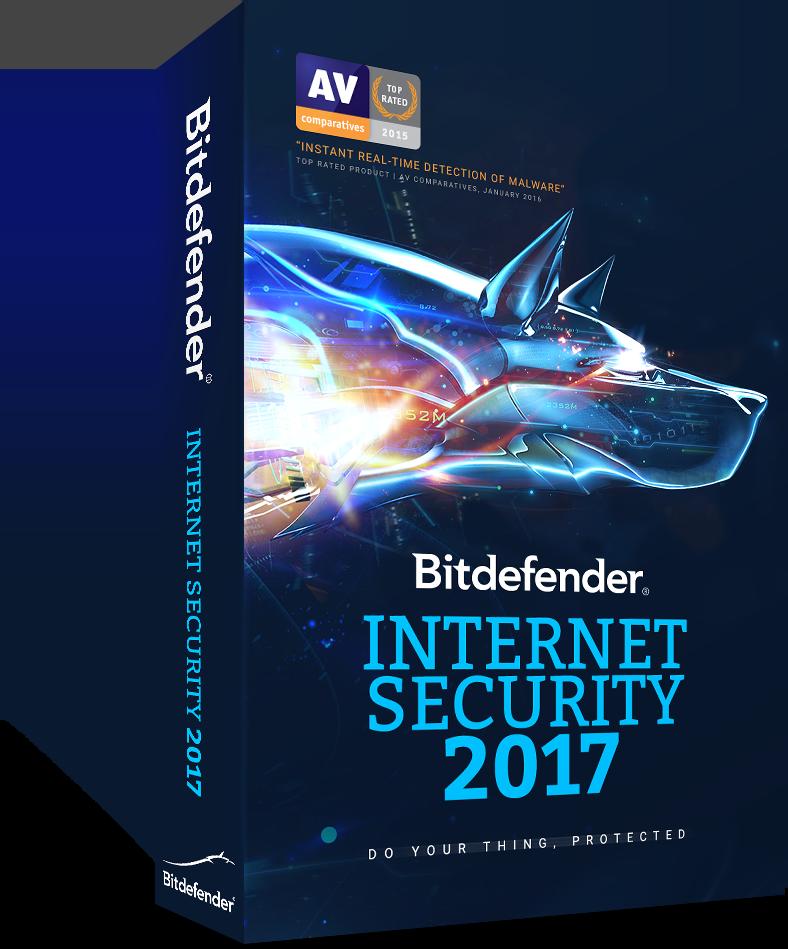 Bitdefender Internet Security 2017,3 PCs, 1 year, BOX new Licenta noua