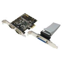 Card PCI-Express 1x Adaptor la 2x Serial RS232 9-pin + 1x Paralel D9SUB 25-pin, chipset NetMOS, mod imprimanta SPP/EPP/ECP si suport bidirectional, LOGILINK (PC0033)