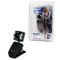 Camera Web LOGILINK (UA0072), USB 2.0, senzor CMOS VGA, rezolutie video si foto: 0.3MP, cu rotire 360grade, clema prindere display laptop si 6 LED-uri controlate automat, culoare: negru
