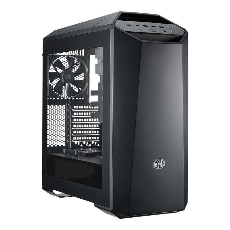 CARCASA COOLER MASTER. MasterCase. Maker 5, mid-tower, ATX, 3* 140mm fan (inclus), I/O panel, side window, fan controller, LED strip, black (MCZ-005M-KWN00)