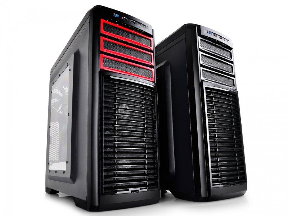 CARCASA DEEPCOOL ATX Mid-Tower,  2* 120mm white LED fan & 3* 120mm fan (incluse), side window, fan controller, front audio & 1x USB 3.0, 2x USB 2.0, titanium gray (KENDOMEN TI)