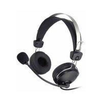 Casti cu microfon flexibil A4TECH (HS-7P) Comfortfit, profesionale cu fir de 2m, frecventa 20Hz - 20kHz, sensibiltate 97dB, cu 2x jack de 3.5mm, din piele si control volum, culoare: negru