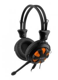 Casti stereo cu microfon pe fir A4Tech Comfortfit HS-28-3, Orange/Black, clasice cu fir, jack 3.5mm, sensibilitate 105dB±3dB, control volum pe casca