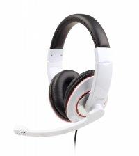 Casti stereo cu microfon Gembird, lungime fir 1.8m, control volum pe cablu, conector jack 3.5mm, White (MHS-001-GW)