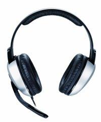 Casti stereo cu microfon GENIUS HS-05A (31710011100), clasice cu fir, frecventa 20Hz - 20kHz, cu jack de 3.5', control volum pe fir, design ajustabil, microfon flexibil si cablu rasucit, culoare: negru-argintiu