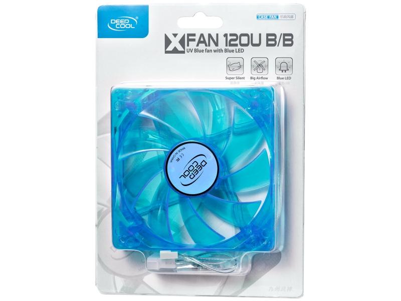 Ventilator carcasa DEEPCOOL (Xfan 120U B/B), universal, conector de 3-pin, 120mm, Hydro Bearing, LED UV albastru, rotatii 1300±10%RPM, flux aer 44.71CFM, zgomot 26dB, Albastru