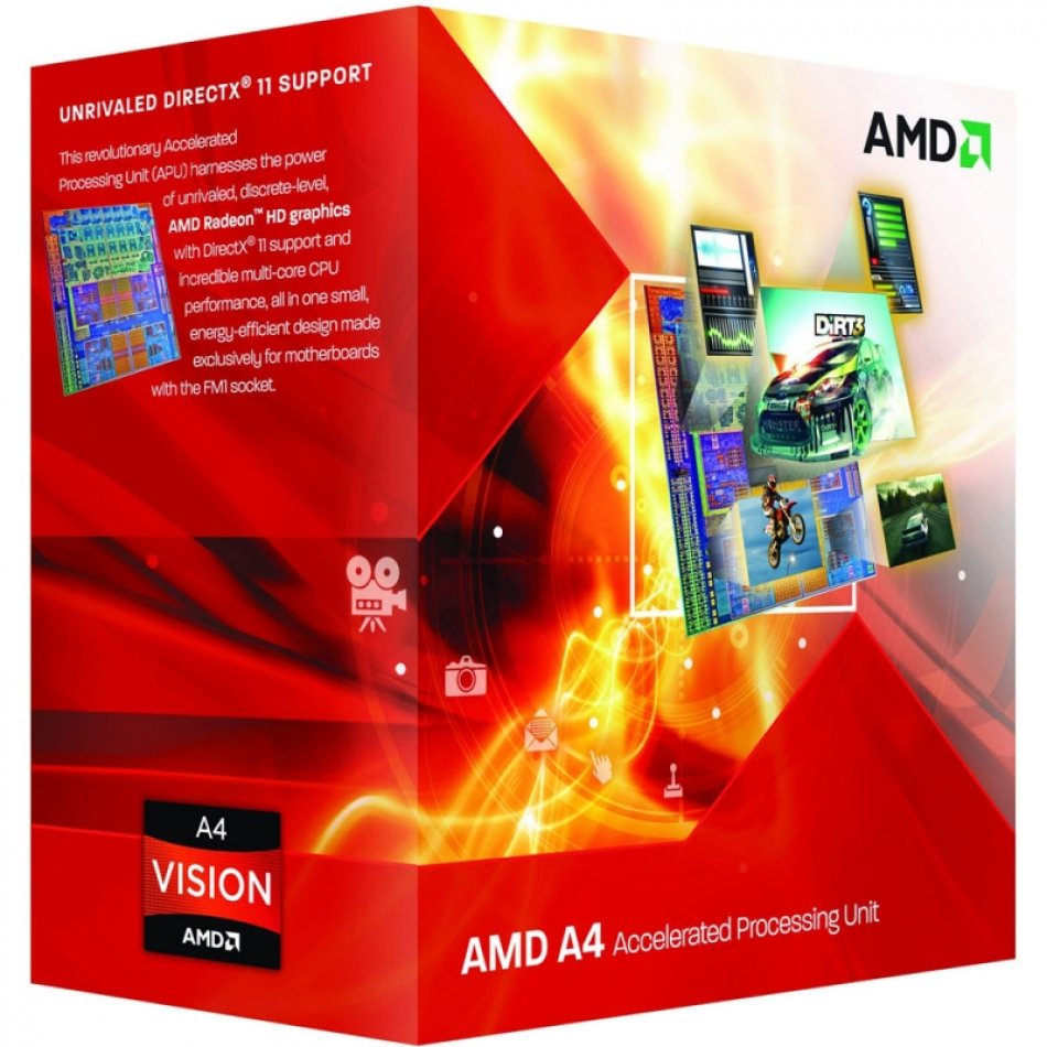 AMD A4-4000 3GHz, socket FM2, BOX (AD4000OKHLBOX)