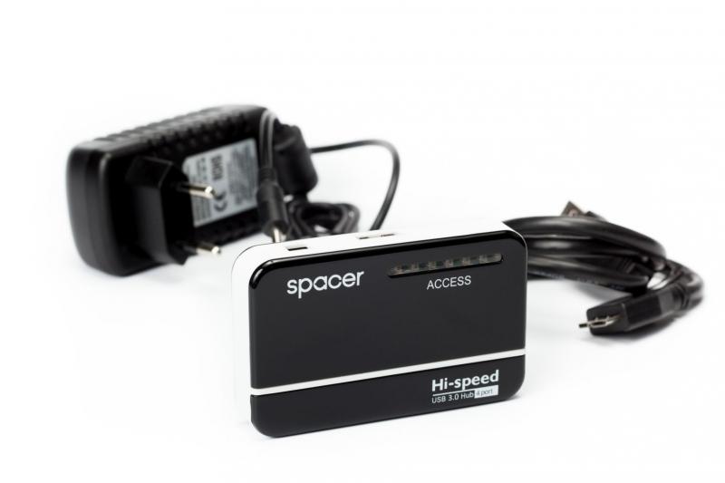 HUB USB 3.0 extern, 4 x USB, alimentator priza 5V/2A, Spacer (SPH-213)