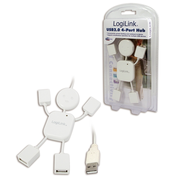 HUB USB Hangman extern, conectori iesire: 4x USB 2.0 si intrare: 1x USB 2.0, Alb, LOGILINK (UA0071)