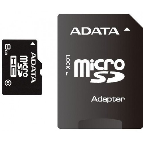 Secure Digital Card micro SDHC 8GB class10 ADATA, adaptor SD (AUSDH8GUICL10-RA1)