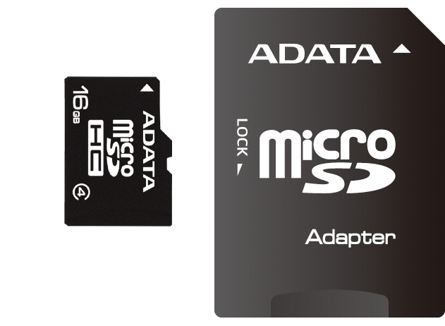 Secure Digital Card micro SDHC 16GB class4 ADATA, adaptor SD (AUSDH16GCL4-RA1)