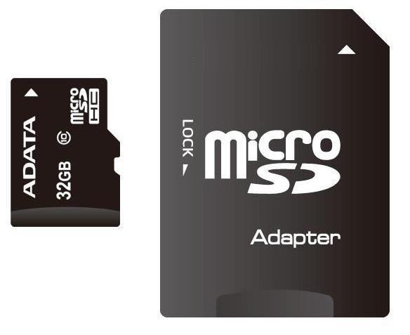Secure Digital Card micro SDHC 32GB class10 ADATA, adaptor SD (AUSDH32GUICL10-RA1)