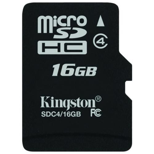 Secure Digital Card micro SDHC 16GB class 4 KINGSTON (SDC4/16GBSP)