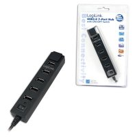 HUB USB extern, conectori iesire: 7x USB 2.0 si intrare: 1x USB 2.0, buton ON/OFF si alimentator priza inclus, Negru, LOGILINK (UA0124)