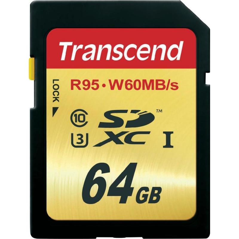 SECURE DIGITAL CARD  SDXC 64GB (Class 10), UHS-I, U3, Citire: 95M/s, Scriere: 60MB/s TRANSCEND (TS64GSDU3)