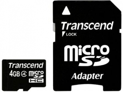 SECURE DIGITAL CARD MICRO  4GB (Class  4) + adaptor SD TRANSCEND (TS4GUSDHC4)