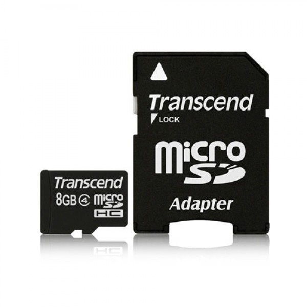 SECURE DIGITAL CARD MICRO  8GB (Class  4) + adaptor SD TRANSCEND (TS8GUSDHC4)