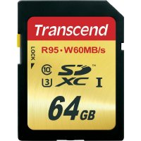 SECURE DIGITAL CARD  SDXC 64GB (Class 10), UHS-I, U3, Citire: 95M/s, Scriere: 60MB/s TRANSCEND (TS64GSDU3)