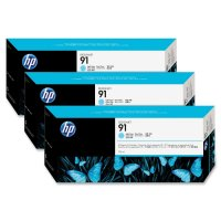 Cartus cerneala Original HP Cyan Light 91 3-pack, compatibil DesignJet Z6100, 775ml (C9486A)