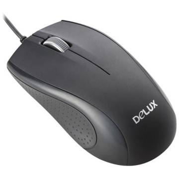 MOUSE Delux, optic, 800dpi, 3 butoane si o rotita scroll, USB, Black (DLM-136BU)