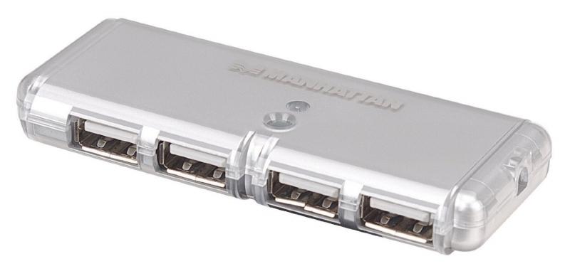 Hub USB 2.0 , Hi-Speed, Bus Power, Silver, 4 Ports, Blister (160599)