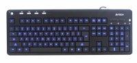 Tastatura multimedia iluminata USB A4TECH black (KD-126-1), wired cu 104 taste inscriptionate laser si 4 taste multimedia