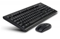 Kit tastatura+mouse Wireless A4TECH Padless (3100N), tastatura wireless (2 baterii) cu 104 taste si mouse wireless (1 baterie) cu 3 butoane si 1 rotita scroll, rezolutie sub 1000dpi, culoare: negru