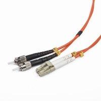 Cablu Fibra Optica, conectori LC-ST, lungime cablu 1m, duplex multimode, bulk, Portocaliu-negru-alb, GEMBIRD (CFO-LCST-OM2-1M)