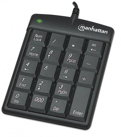 Numeric Keypad 19 taste, USB, Black, Blister, Manhattan