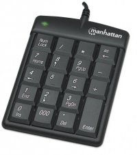 Numeric Keypad 19 taste, USB, Black, Blister, Manhattan