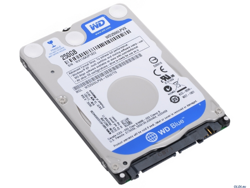 HDD Notebook WD Blue 250GB 5400rpm 8MB SATA3 (WD2500LPVX)