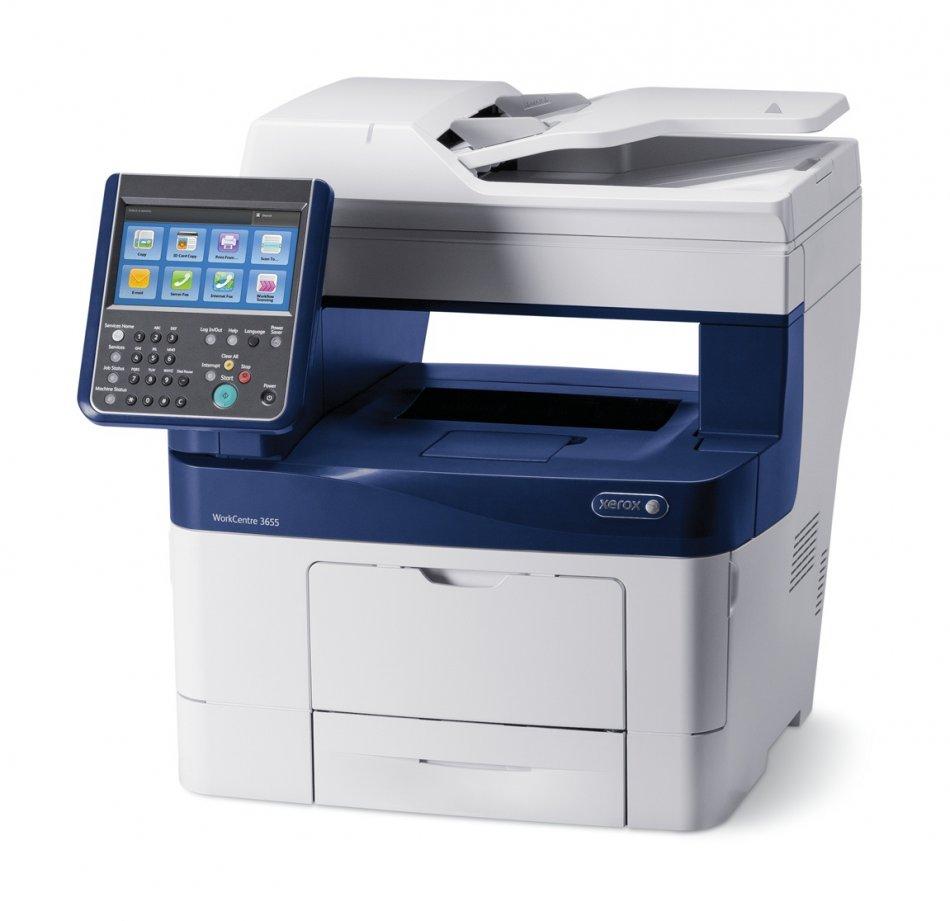 Xerox WorkCentre 3655X, Multifunctional laser mono A4 ( print/copy/scan retea/capsator/fax), viteza printare:45ppm,  rezolutie printare: 1200x1200 dpi, fpo 8 sec, DADF 60 coli, duplex, tavi 150+550 coli (max 2350 coli), capsator offline 20 coli, ecran tac