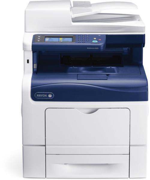 Xerox WorkCentre 6605N, Multifunctional laser color A4 (print/copy/scan to email/fax), viteza printare/copiere: 35ppm mono/35ppm color, rezolutie: 600x600x4dpi, fpo 9s mono/10s color, memorie 512MB (max 1GB), tavi hartie:150+550 coli (max 1250), iesire 25