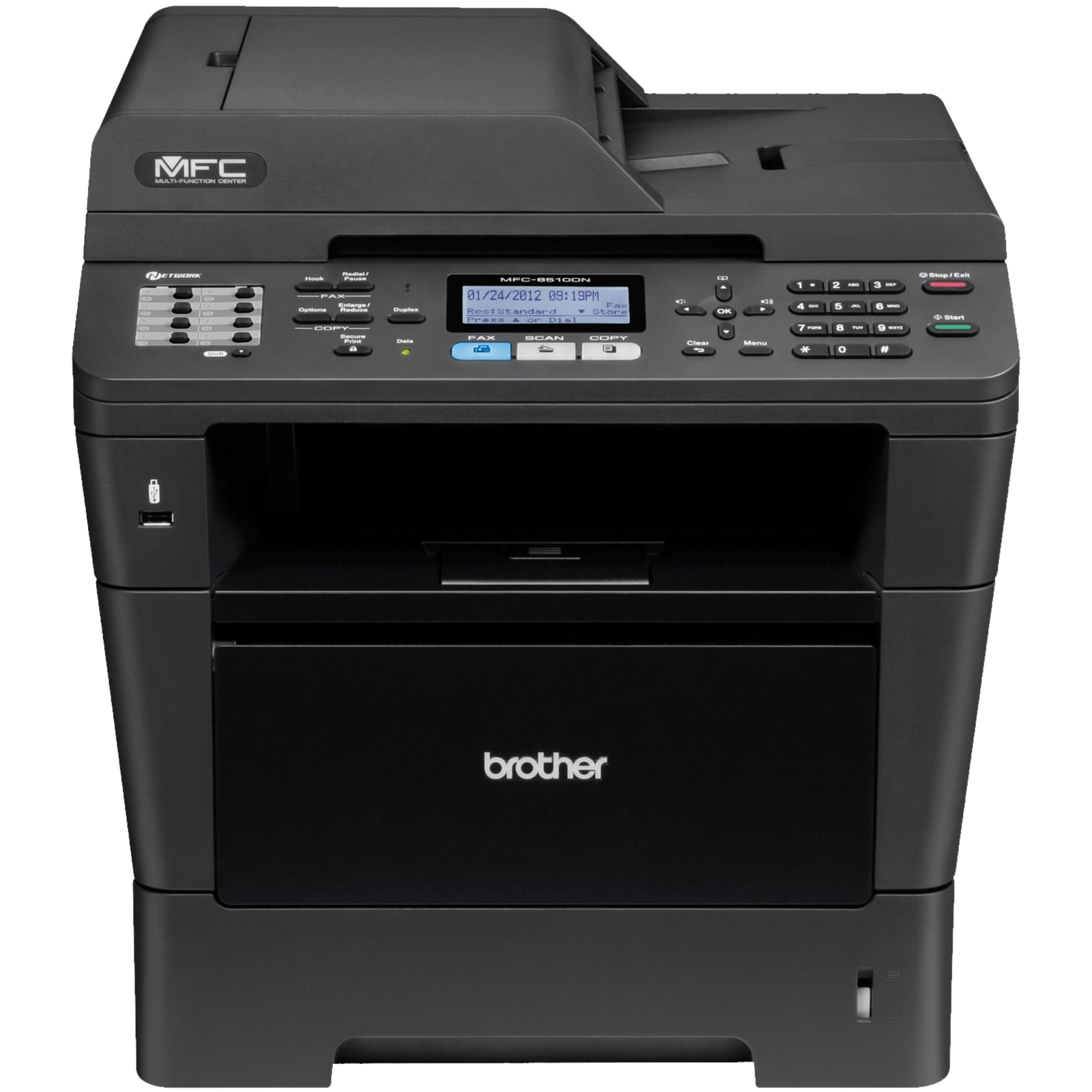 Brother MFC8510DN, Multifunctional laser mono  A4 (print/copy/scan/fax), viteza printare: 36 ppm, rezolutie printare: 1200x1200 , rezolutie copiere: 36ppm, rezolutie copiere: 1200x600 ,  Fax 33600 , Scanner 1200x1200 , PCL& BRScript3 , 64 MB (up to 320MB)