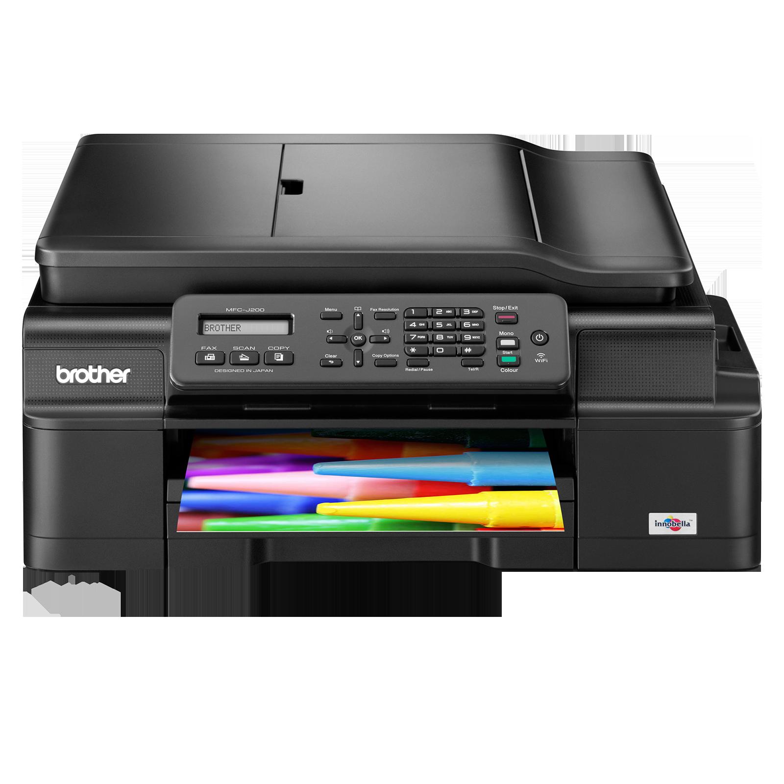 Brother MFCJ200YJ1, Multifunctional inkjet A4 (print/copy/scan/fax), viteza printare: 11 imp mono / 6 ipm color, viteza copiere: 4.8 ipm mono / 3 ipm color, conectivitate: USB 2.0 , wireless, copiere multipla: 99 copii, ADF: 20 coli, tava intrare: 100 col