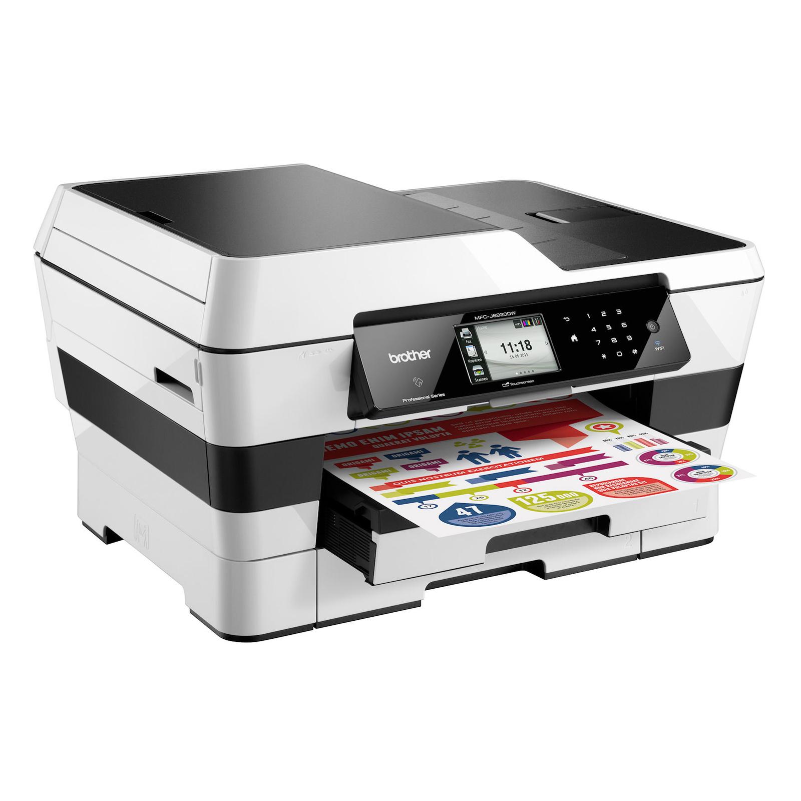 Brother MFCJ6920DW, Multifunctional inkjet  A3 (print/copy/scan/fax), viteza printare:22/20 ppm (mono/color, ISO), max 35/27 ppm (FastMode), rezolutie: 6000x1200 dpi, 256MB, borderless printing, media 64-220g/m2 (64-105g/m2 prin duplex), tavi 250+250 coli
