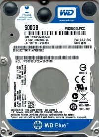 HDD  Notebook 2.5'  500GB 5400rpm 16M SATA3 WD  (WD5000LPCX)