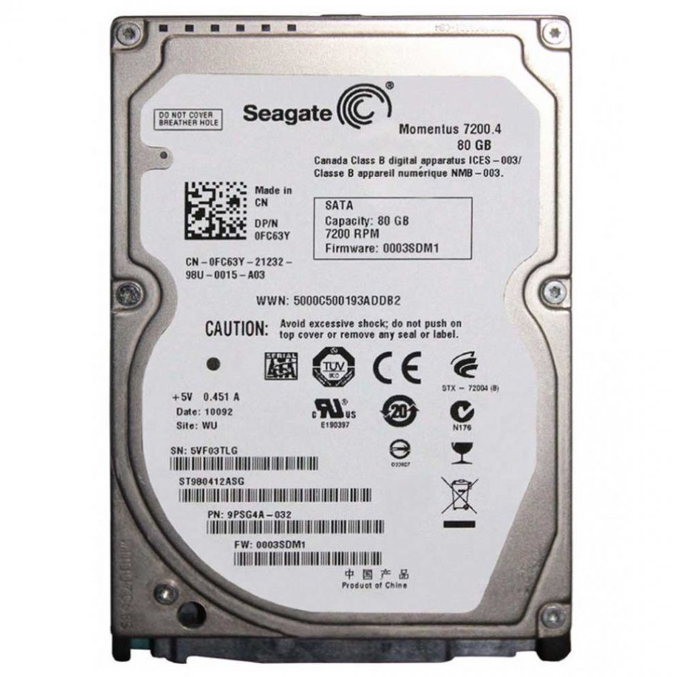 Hard disk laptop second hand 80 GB SATA 5400 RPM